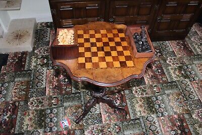English Rosewood Dropleaf Chess Table