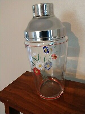 Vintage Cocktail Bar Barware Glass Shaker Painted Flowers Stainless lid