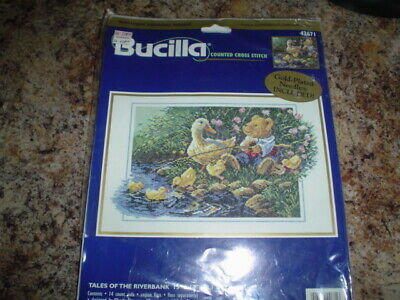 Bucilla Tales of the Riverbank Cross Stitch Kit Chart Thread Opened Complete