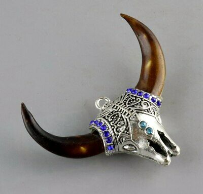 Collection Miao Silver Inlay Wolf Tooth Carve Ox Head Shape Moral Lucky Pendant