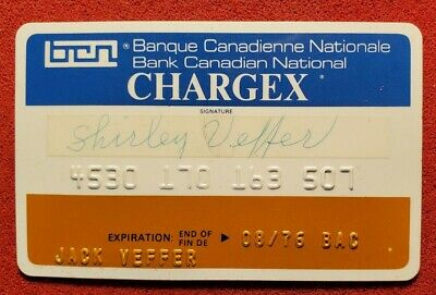 Banque Canadienne Nationale Chargex card exp 1973♡free ship♡cc1473