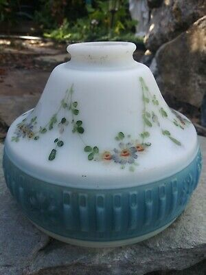 Vintage Frosted Milk Glass Glass Lamp/Light Shade Blue hand-painted flowers