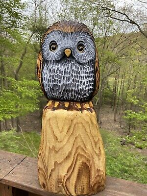 OWL Chainsaw Carving LOCUST WOOD Owl Chainsaw Sculpture WHIMSICAL Folk Artwork