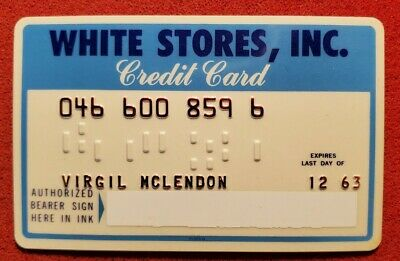 White Stores Credit Card Exp 1963 ♡Free Shipping♡cc205♡