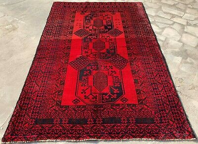 Authentic Hand Knotted Afghan Balouch Wool Area Rug 5 x 3 Ft (152 HM)