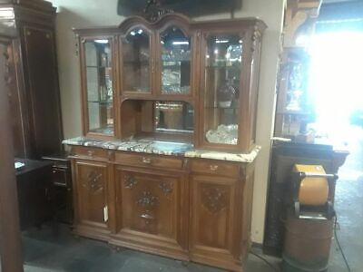 Antique 2-Piece Cabinet Hutch Marble Top French Glass and Wood Doors