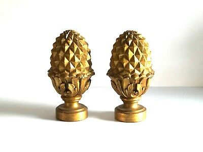 One Pair Of Contemporary Oil Gilded Custom Carved Wooden Pine Cone Shape Finials