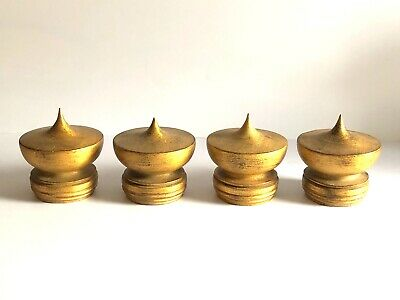 Lot Of 4 Contemporary Oil Gilded Custom Carved Wooden Chinese Style Finials