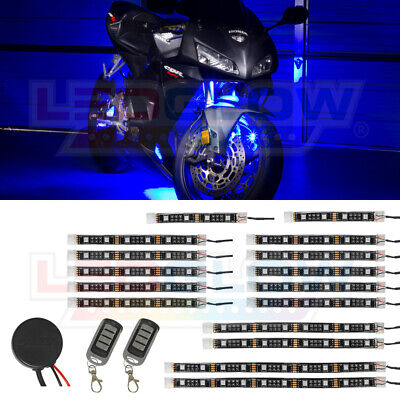 LEDGlow 16pc Advanced Blue LED Flexible Motorcycle Accent Neon Light Kit
