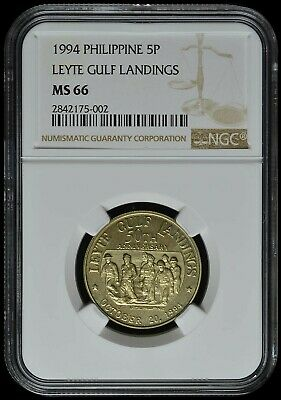 1994 Philippines 5 Piso Coin NGC MS-66 Leyte Gulf Landings