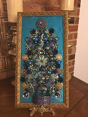 Vintage Jewelry Framed Art Designed Into Christmas Tree's, Angels, Floral, Etc.