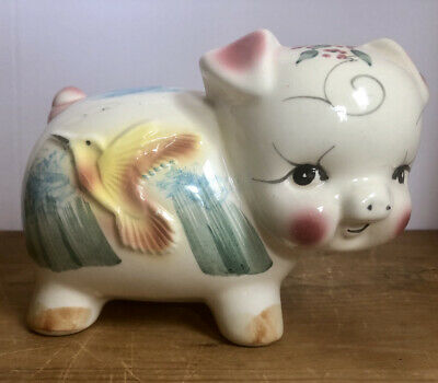 Vintage Pottery Pig Piggy Bank With Flying Yellow Golden Bird 9""