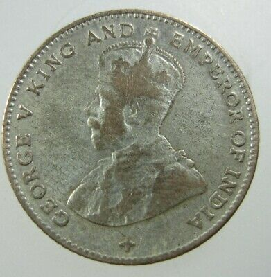 Straits Settlements British 10 Cent 1919 Silver Malaysia Singapore 02# Coin