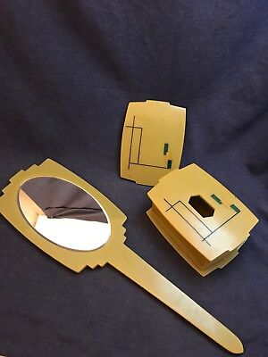 Vintage Bakelite ART DECO Pereline Mirror & Box w 2 Lids Green-Yellow 14 1/2""