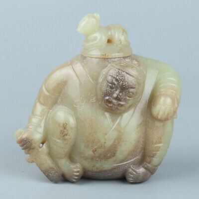 Chinese Exquisite Hand carved Hetian jade pot statue