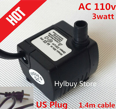 AC 110v 200L/H small Submersible Water Pump for Fountain Fish Aquarium 3W