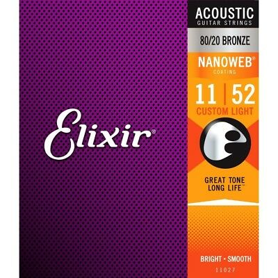 Elixir Nanoweb Coated 80/20 Bronze Acoustic Guitar Strings Custom Light 11-52