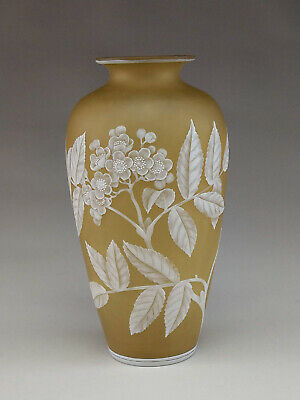 Outstanding Signed Webb Cameo Vase With Mountain Laurel Decoration