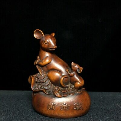 Collectable Old Boxwood Hand-Carve Lovely Mouse & Wealth Auspicious Decor Statue