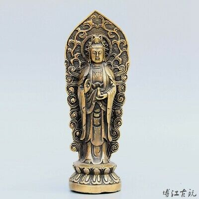 Collectable China Old Bronze Hand-Carved Buddhism Kwan-Yin Bodhisattva Statue