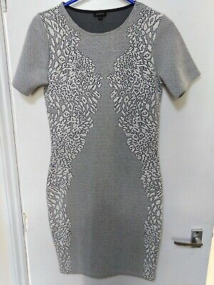 River Island Dress White And Black short sleeve bodycon cotton mix UK 10