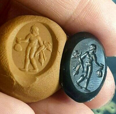 Antique Old Agate Intaglio Man Holding Gold Back & Weapon Signet Engraved Bead