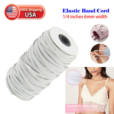 "10 Yards 1/4"" Elastic Band Trim - white 1/4 inch 6 mm * Ideal for DIY Face Mask!"