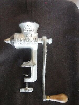 Vintage Manual Hand Crank Metal Meat Grinder Universal Chopper No 1