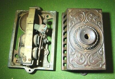 Strick & Carter Ornate Victorian Cast Iron Eastlake Wall Mount Doorbell Antique