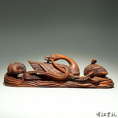 Collectable China Old Boxwood Hand-Carved Elegant Swan Delicate Unique Statue