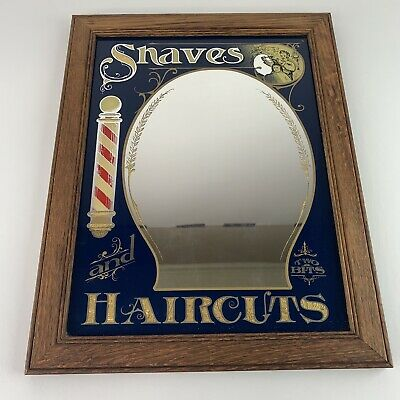 "Vintage HENSLEY Co. Barber ""SHAVES & HAIRCUTS"" Barbershop Framed Mirror Picture"