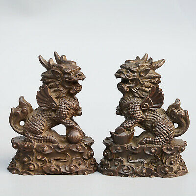Collect China Old Bronze Hand-Carved Myth Kylin Auspicious A Pair Decor Statue