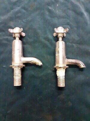 Vintage Quality pair sink taps Hot And Cold For Restoration MWB maker