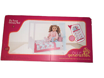 "American Girl/Our Generation 18"" Doll Pink canopy bed complete with bedding"