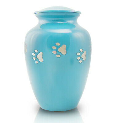 Paw Print Bronze Pet Cremation Urn for Ashes - Medium Teal Blue