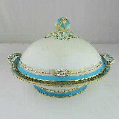Minton? Spode? Porcelain Tureen Covered Dish Blue and White Flower Finial