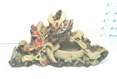 Lovely Antique Vintage Carved  Soapstone  Pot Bowl  Relief Bird Chrysanthemum