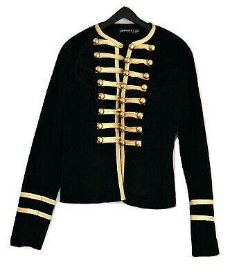 Boohoo Girls Velvet Fitted Jacket Military Style Size 4UK Black with Gold Braid