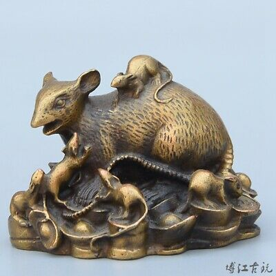 Collectable China Old Bronze Hand-Carved Lovely Mouse & Wealth Decorate Statue