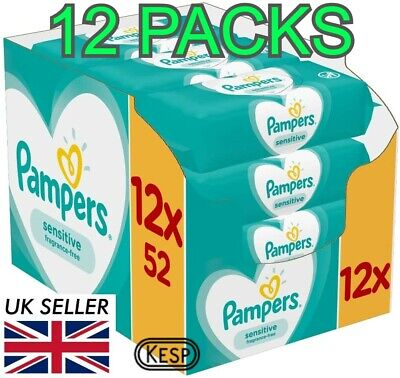PAMPERS Sensitive BABY WIPES 12 packs x 52 wipes
