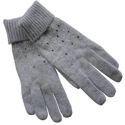 Gloves Woman Angora Wool Grey Strass Lenses Glass Bright Studded 100