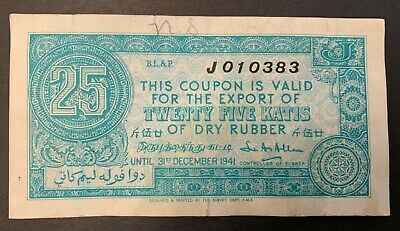 Malaya 25 katis of dry rubber 1941 coupon banknote