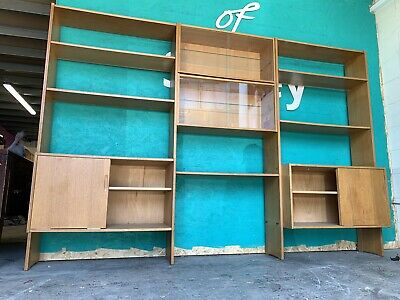 Mid Century Oak Wall Shelving / Display Unit / Room Divider c1970's