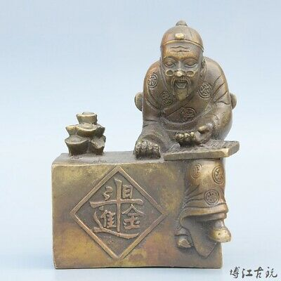 Collect China Old Bronze Hand-Carved Immortal & Wealth Bring Luck Decor Statue
