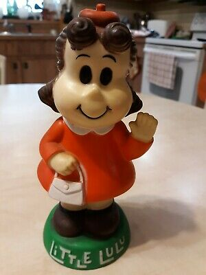 Vintage Little Lulu Rubber Coin Bank 8 in with Coin Stopper