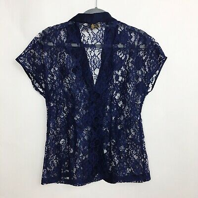 Victoria Secret women Top Pajama Navy Lace Top Satin Gold Label sz L