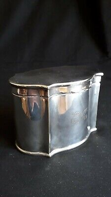 Antique English Georgian style Silver Plated Tea Caddy Biscuit Box