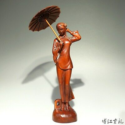 Collectable China Old Boxwood Hand-Carved An Umbrella Belle Unique Decor Statue