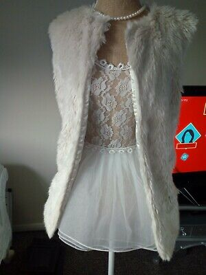 Cream Faux Fur Waistcoat Jacket Long Girls 12-13 Years / Ladies Size 6 Faux Silk