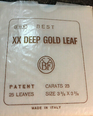 """BEST XX DEEP GOLD 25 LEAF BOOK of """"PATENT"""" Italy 23K"""
